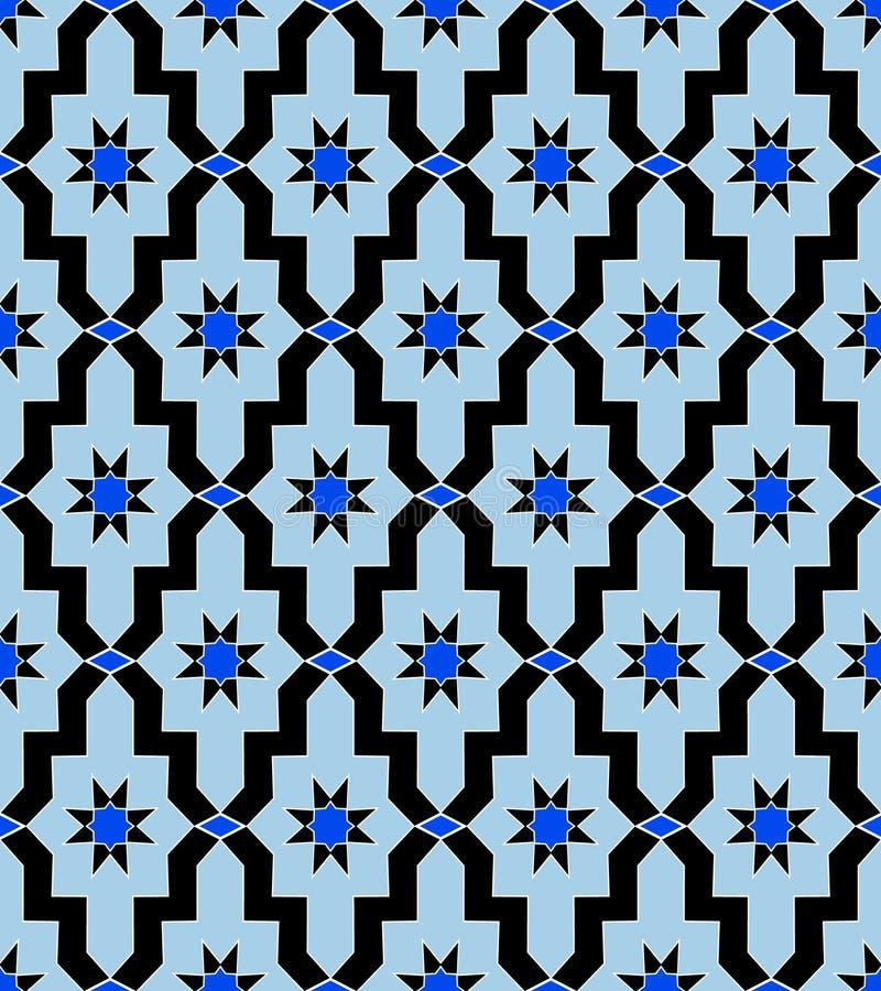 Blauwe uitstekende ster van het patroon de Arabische mozaïek royalty-vrije illustratie