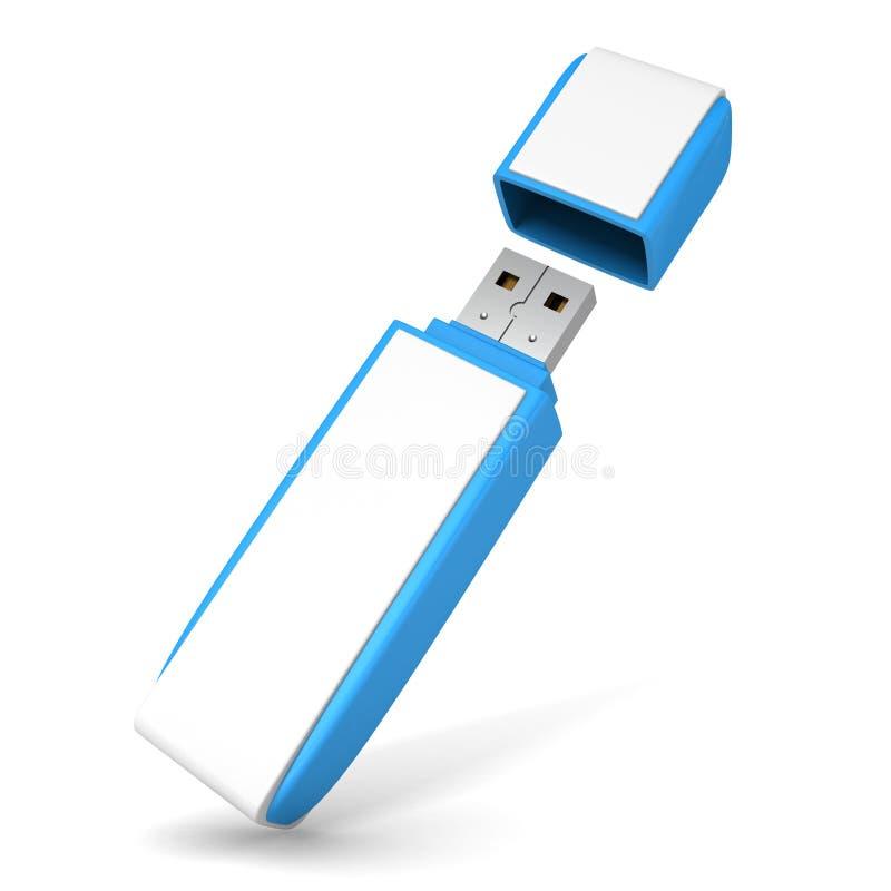 Blauwe USB-flitsaandrijving op witte achtergrond stock illustratie