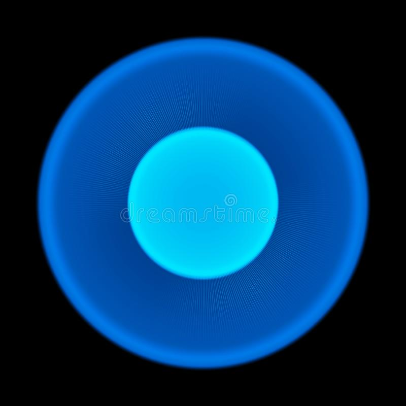 Blauwe vage gloeiende cirkel op zwarte achtergrond Zon zonlicht Zonnestraal Abstracte illustratie met glanzende lichten Het effec stock illustratie