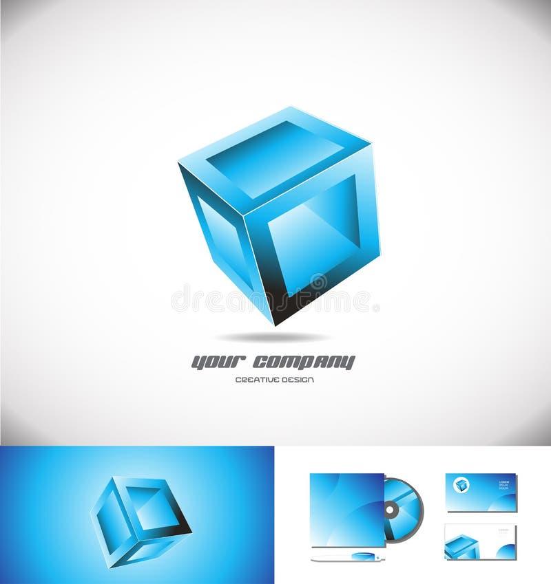 Blauwe van het het embleempictogram van de kubusdoos 3d het ontwerpspelen vector illustratie