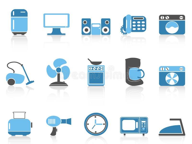 Blauwe van het huisapparaten van de kleurenreeks het pictogramreeks royalty-vrije illustratie