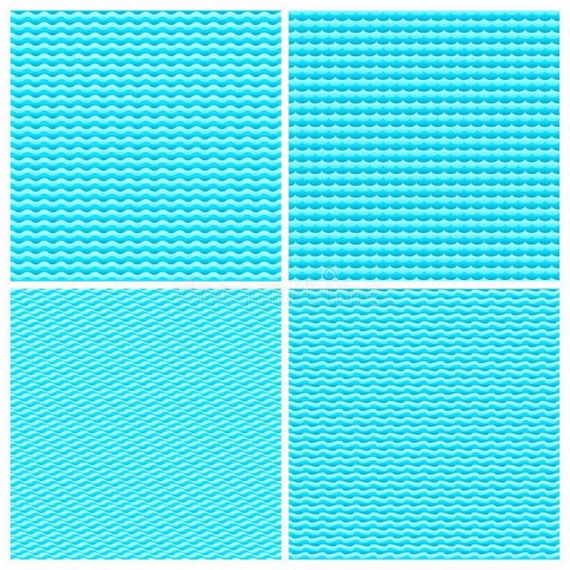 Blauwe van watergolven naadloze vector geplaatste texturen als achtergrond royalty-vrije illustratie