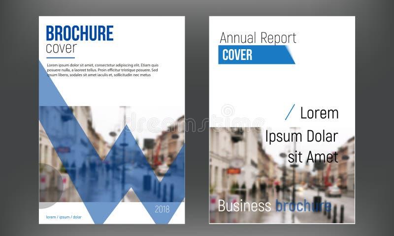 Blauwe vastgestelde dekkings bedrijfsbrochure vectorontwerpen, Pamflet die abstracte achtergronden adverteren Het moderne tijdsch stock illustratie