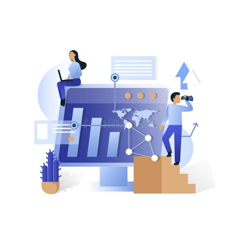 Blauwe vector het conceptenillustratie van bureau toekomstige technologieën stock illustratie