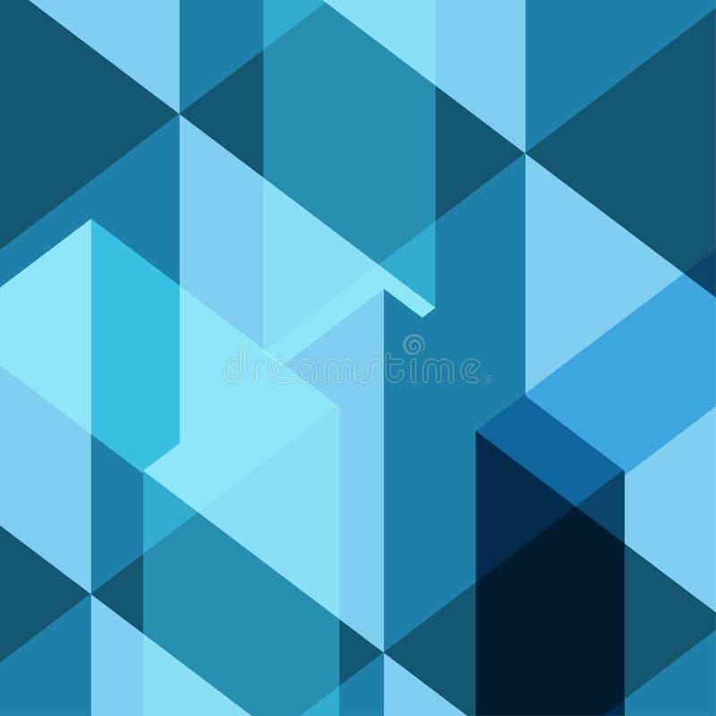 Blauwe vector het patroonachtergrond van de schaduw vierkante veelhoek stock illustratie