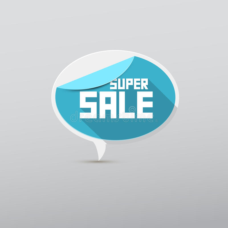Blauwe Vector Super Verkoopmarkering, Etiket stock illustratie