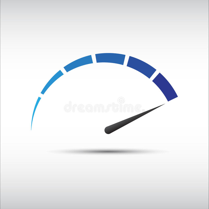 Blauwe vectortachometer, snelheidsmeterpictogram stock fotografie