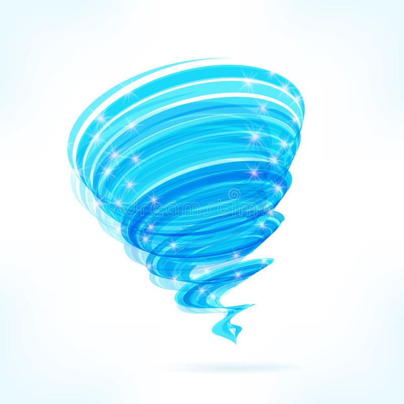 Blauwe vectortornado stock illustratie