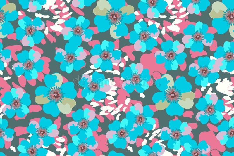 Blauwe vectortuinbloemen stock illustratie