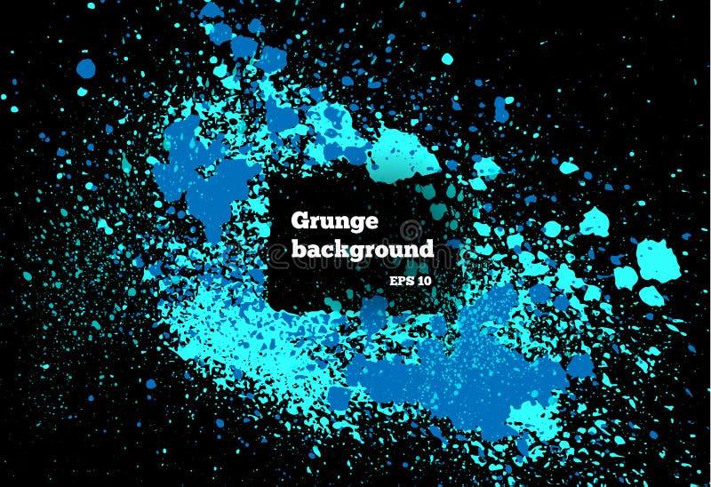 Blauwe verf, inktplons, de druppeltjes van de borstelsinkt, vlekken Vuile artistieke ontwerpelementen, dozen, kaders Grungekader  vector illustratie
