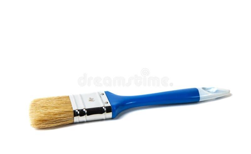 Blauwe verfborstel stock fotografie