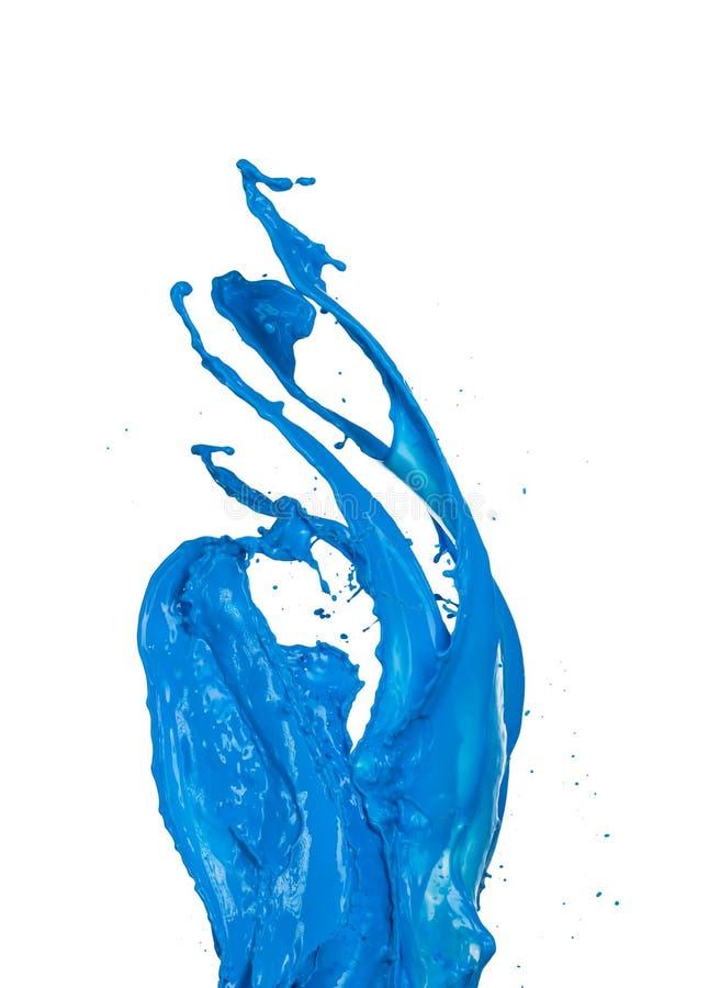 Blauwe verfplonsen op witte achtergrond royalty-vrije stock afbeelding