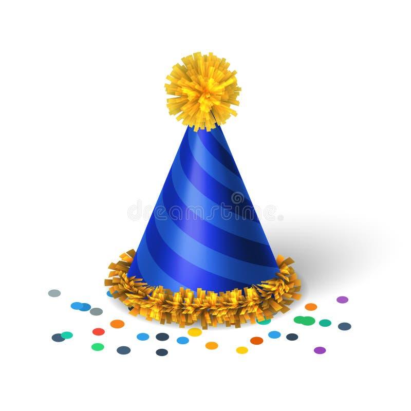 Blauwe verjaardagshoed met spiralen vector illustratie
