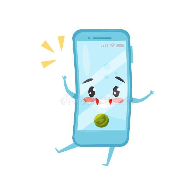 Blauwe vermenselijkte mobiele telefoon met inkomende oproep Het bellen smartphone Beeldverhaalkarakter met gelukkig gezicht Vlak  vector illustratie
