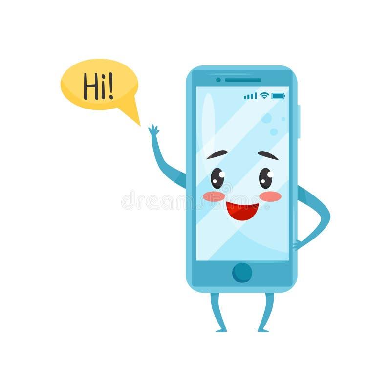 Blauwe vermenselijkte smartphone met grappige gezicht golvende hand en het zeggen hallo Het karakter van het beeldverhaal Vlak ve stock illustratie