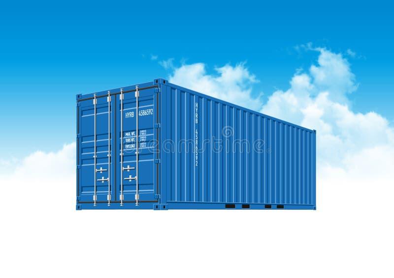 Blauwe Verschepende Ladingscontainer voor Logistiek en Vervoer vector illustratie