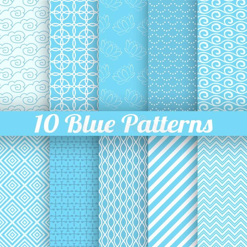 10 blauwe verschillende naadloze patronen (het betegelen)