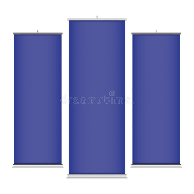 Blauwe verticale bannermalplaatjes royalty-vrije illustratie