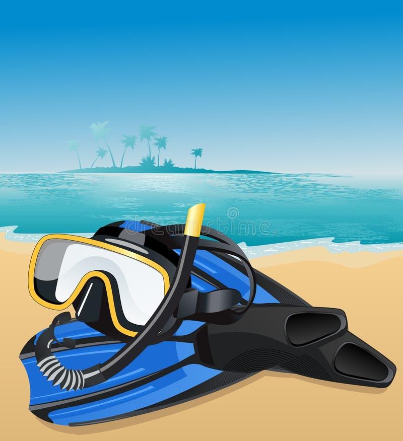 Blauwe vinnen en zwemmend masker stock illustratie