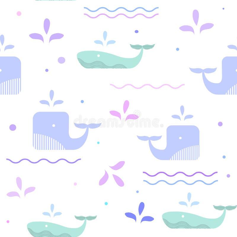 Blauwe vinvis in het overzees Golven en dalingenpatroon royalty-vrije illustratie