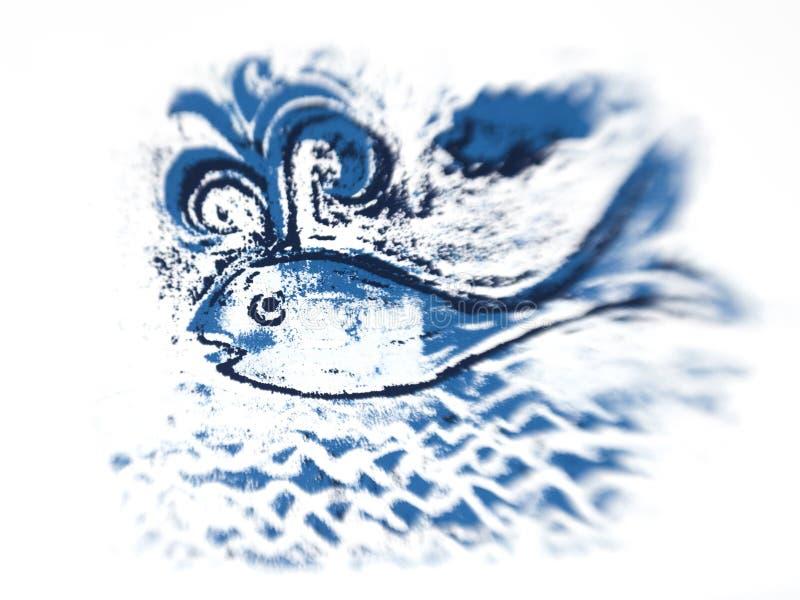 Blauwe vinvis leuke illustratie stock afbeelding