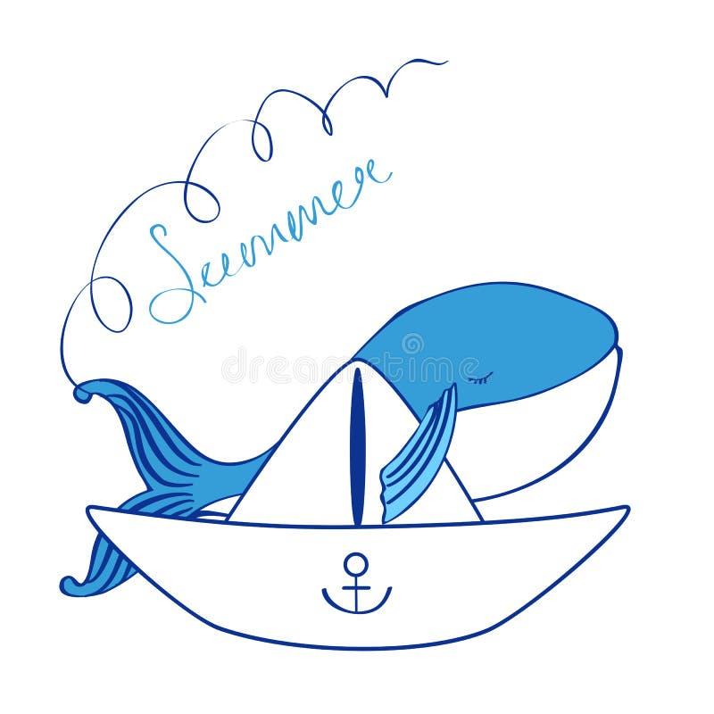 Blauwe vinvis met document de illustratie van het bootbeeldverhaal op witte achtergrond, vector grafisch kleurrijk krabbeldier wo royalty-vrije illustratie