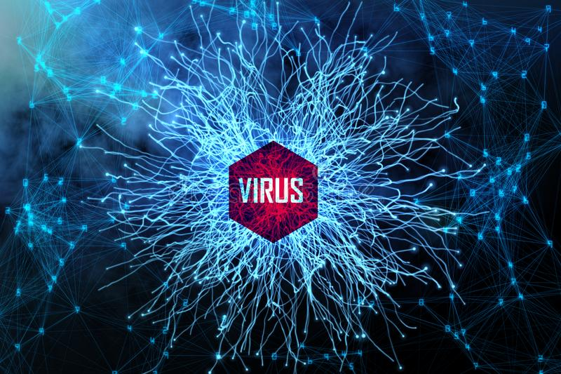 Blauwe virusachtergrond vector illustratie