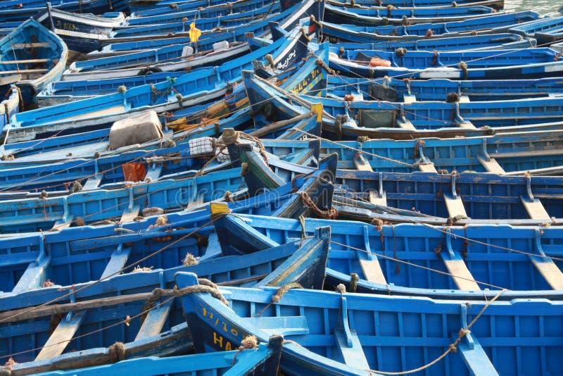 Blauwe vissersboten royalty-vrije stock foto