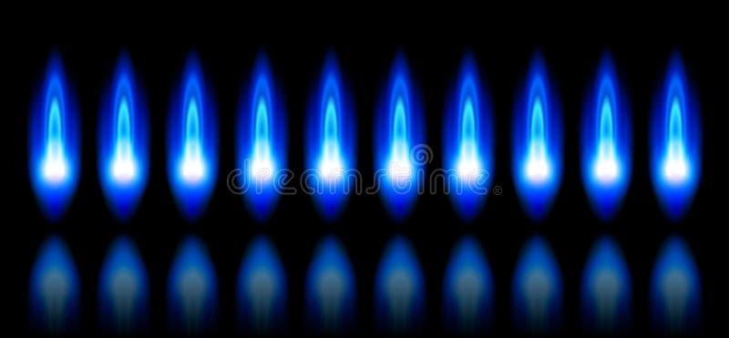 Blauwe vlammen van een brandend aardgas stock illustratie