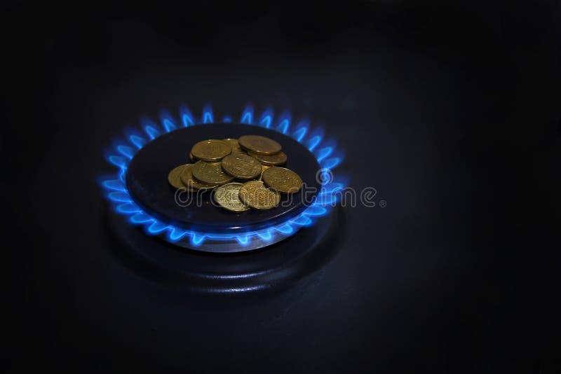 Blauwe vlammen van natuurlijke met gas van een gas royalty-vrije stock foto's