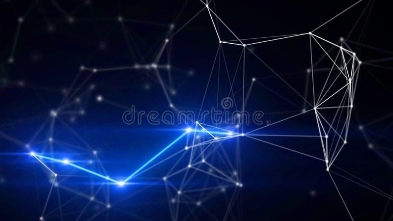 Blauwe vlecht en achtergrond van de van de bliksem de abstracte technologie en techniek vector illustratie