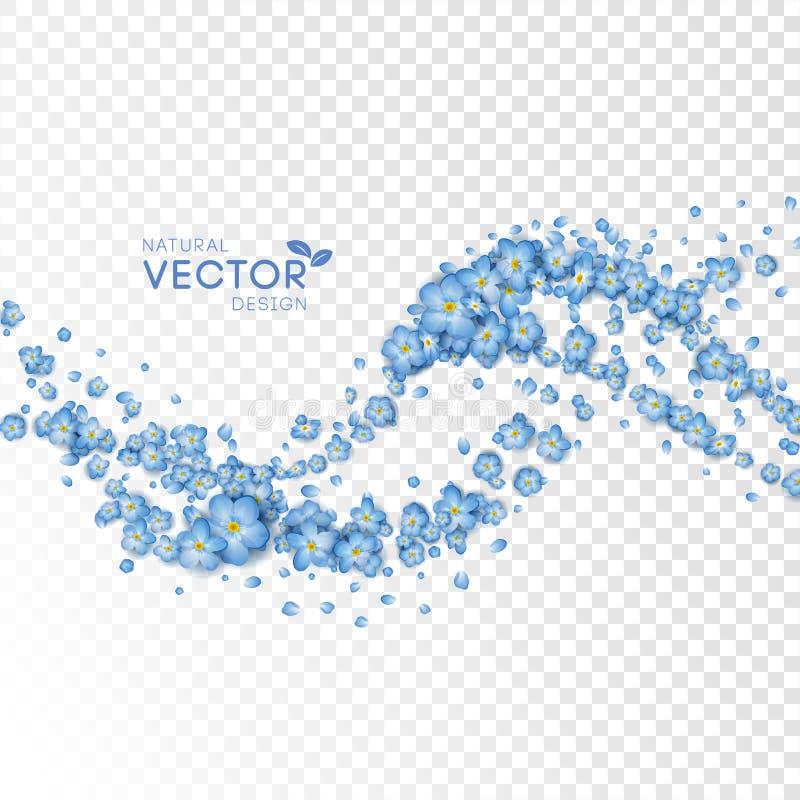 Blauwe Vliegende Bloemen royalty-vrije illustratie