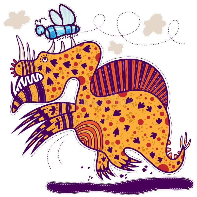 Blauwe vlinder en draak vector illustratie