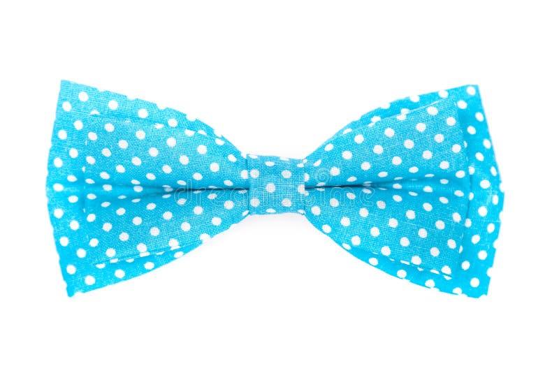 Blauwe vlinderdas met witte polka royalty-vrije stock foto
