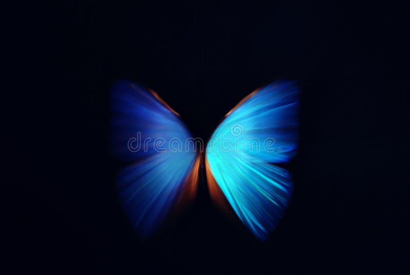 Blauwe vlindersamenvatting met gezoem stock afbeeldingen