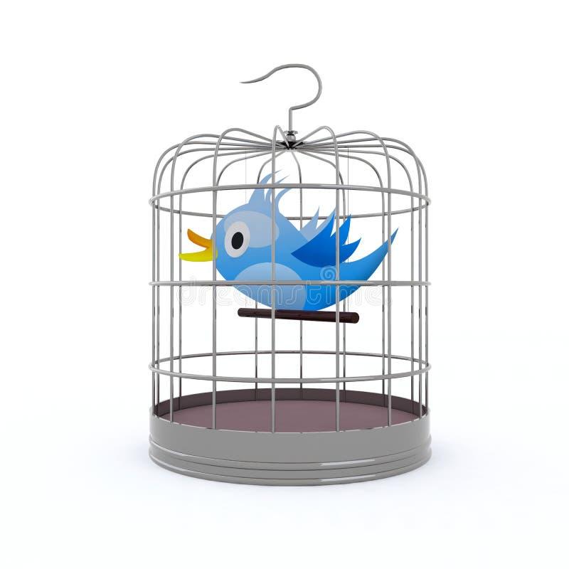 Blauwe vogel binnen de kooi die tjilpt vector illustratie