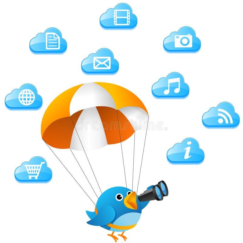Blauwe vogel die op wolk zoekt stock illustratie