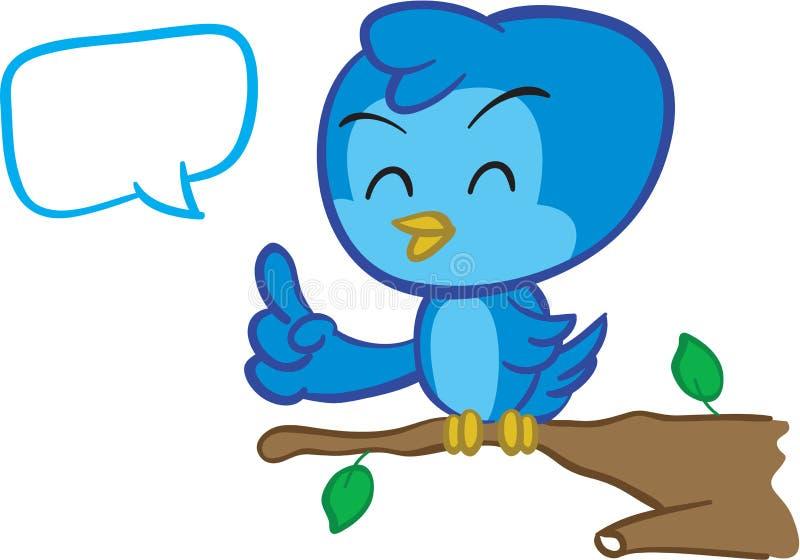 Blauwe of vogel die spreekt zingt stock illustratie