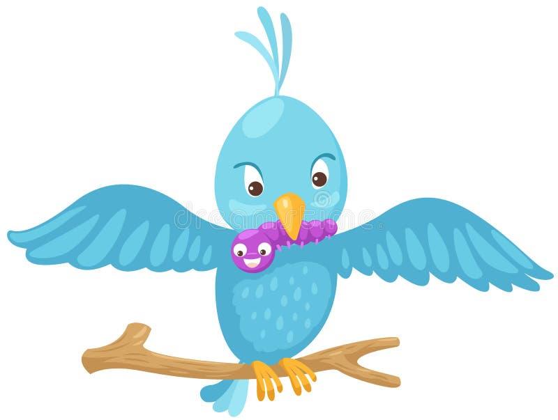 Blauwe vogel die worm op tak eet vector illustratie