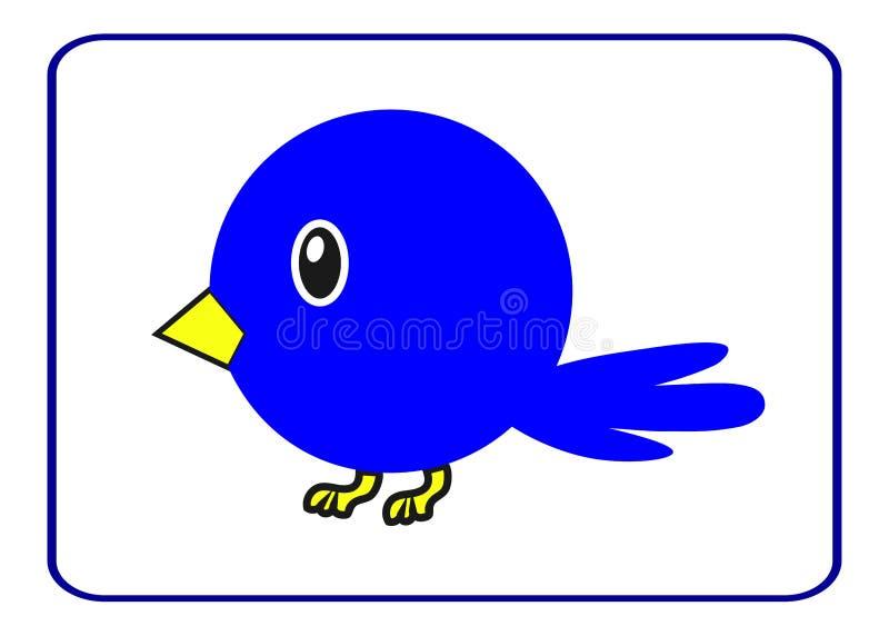 Blauwe vogel met een gele bek vector illustratie