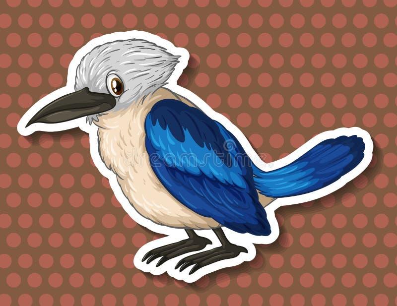 Blauwe vogel op bruine achtergrond stock illustratie