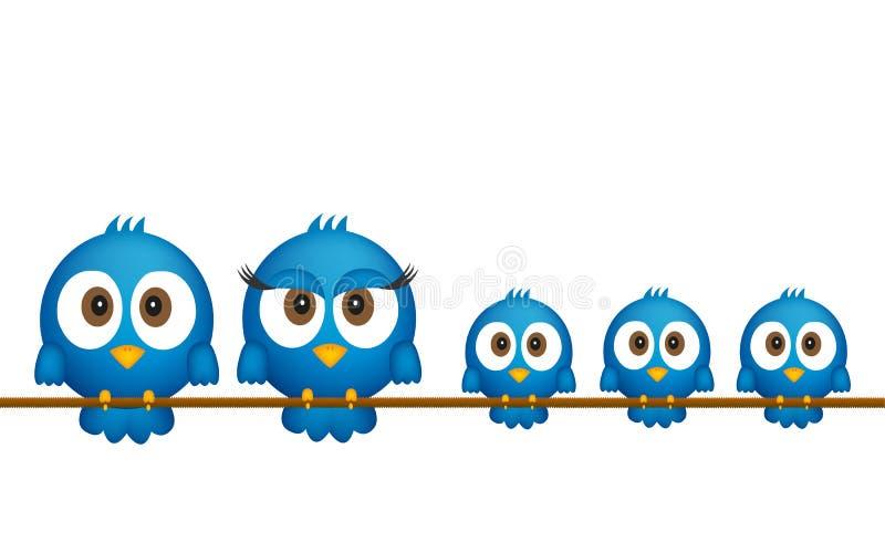 Blauwe vogelsfamilie stock illustratie