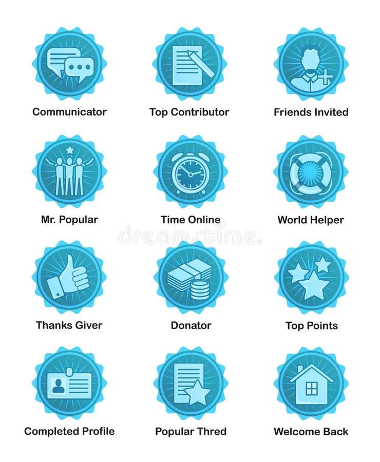 Blauwe voltooiingskentekens voor Web, apps, bloggen, forums stock illustratie
