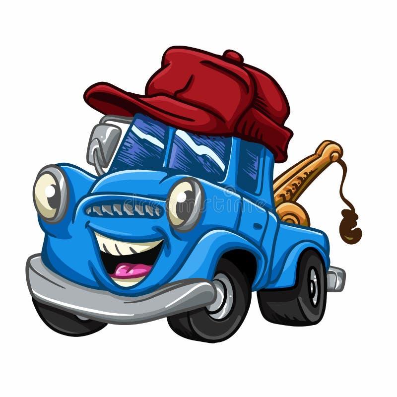 Blauwe vrachtwagen - vrachtwagenbeeldverhaal - auto's voor jonge geitjes royalty-vrije illustratie