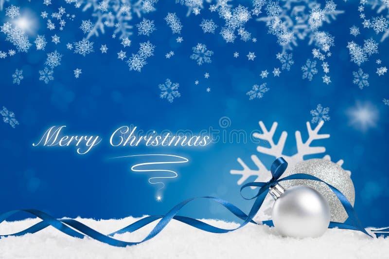 Blauwe Vrolijke Kerstmis royalty-vrije stock afbeeldingen