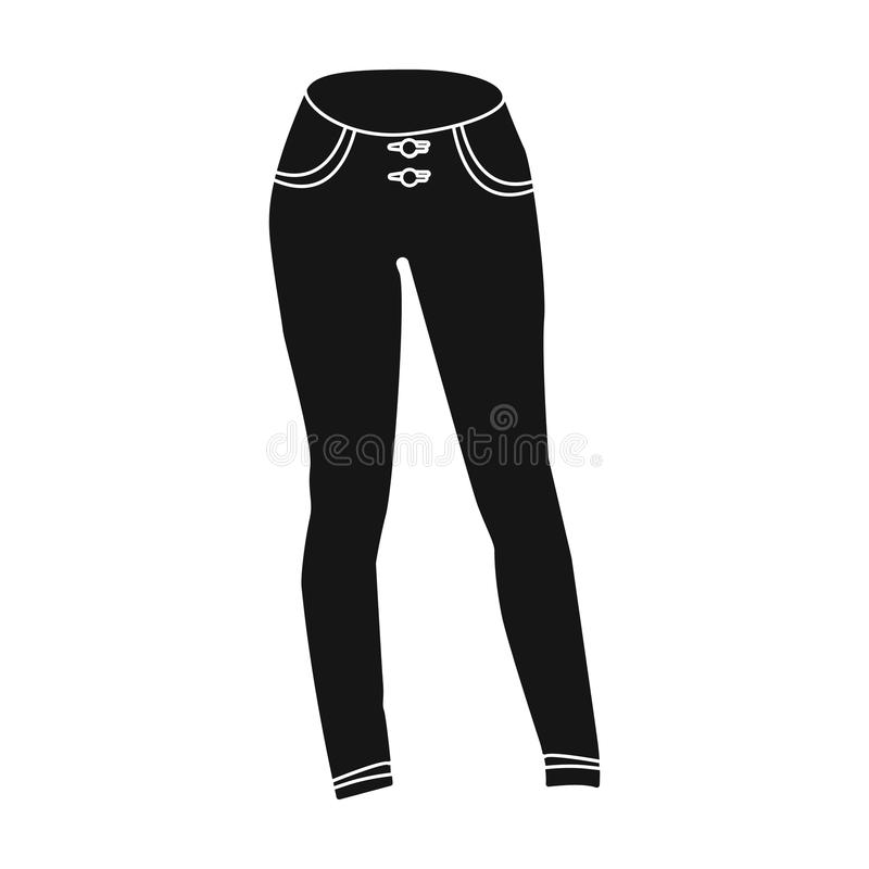 Blauwe vrouwens jeans Toevallige jeans comfortabele kleding voor vrouwen De vrouw kleedt enig pictogram in zwart stijl vectorsymb royalty-vrije illustratie