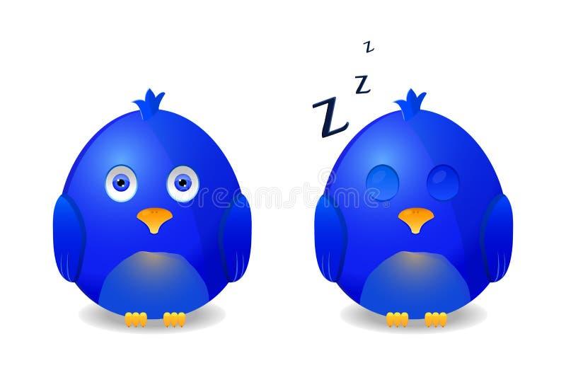 Blauwe wakkere vogel en slaap vector illustratie