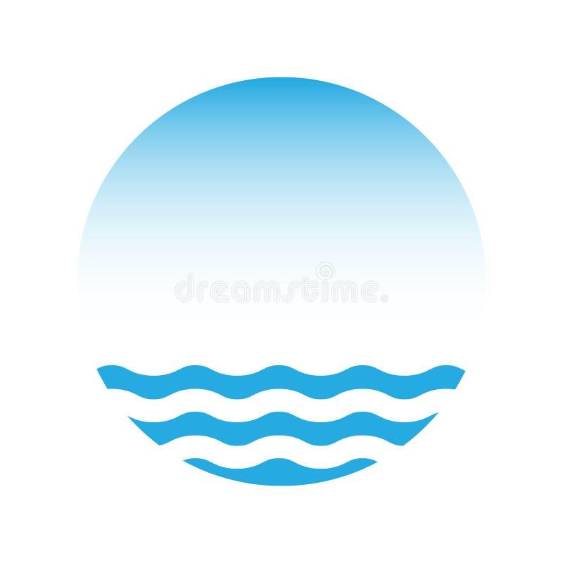 Blauwe water en hemel, vectorembleem vector illustratie