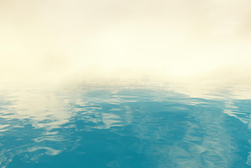 Blauwe water en rook stock illustratie