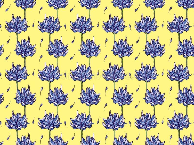 Blauwe waterlelie stock illustratie